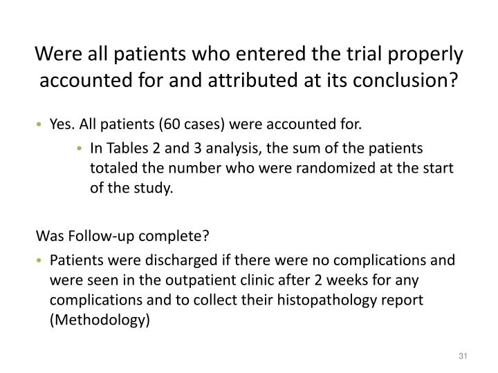 Were all patients who entered the trial properly accounted for and attributed at its conclusion?