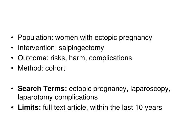 Population: women with ectopic pregnancy