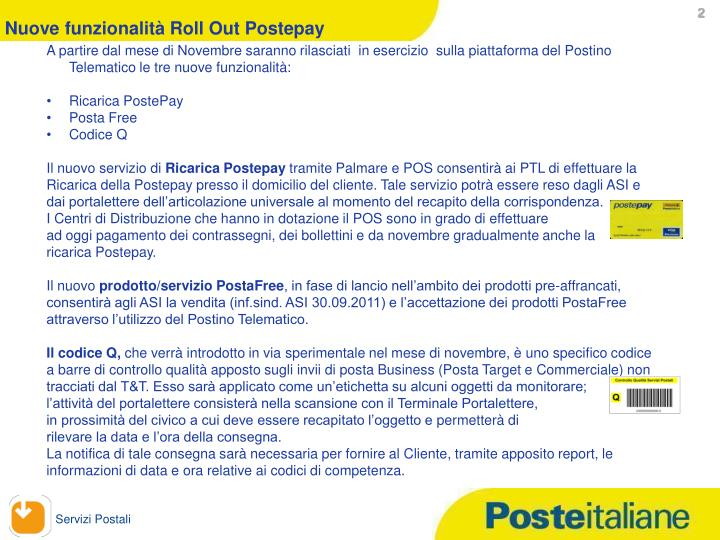Nuove funzionalità Roll Out Postepay
