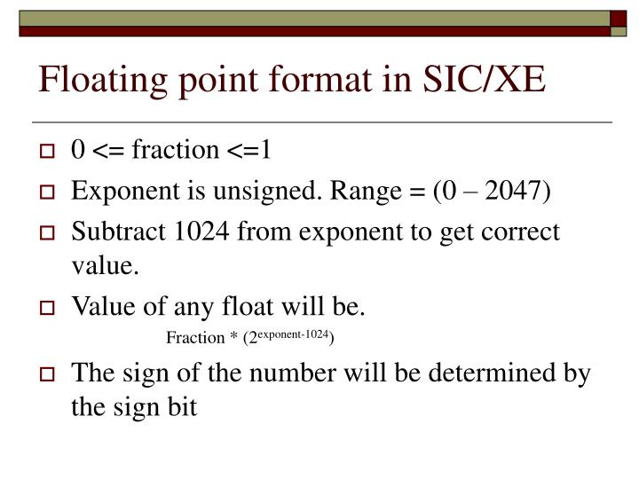 Floating point format in SIC/XE