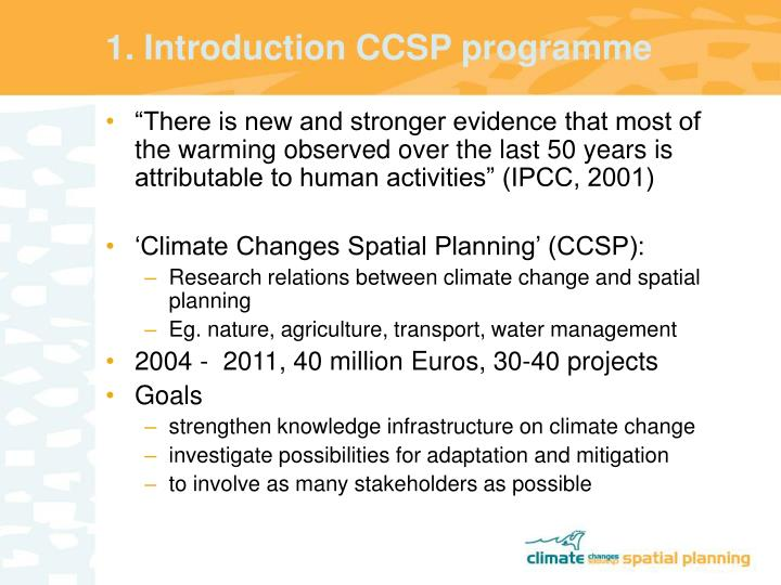 1. Introduction CCSP programme