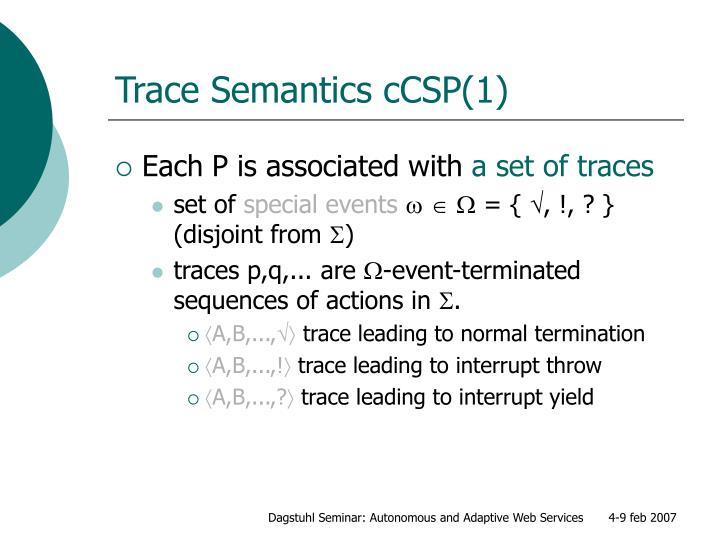 Trace Semantics cCSP(1)