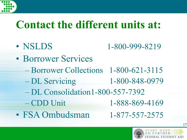 Contact the different units at: