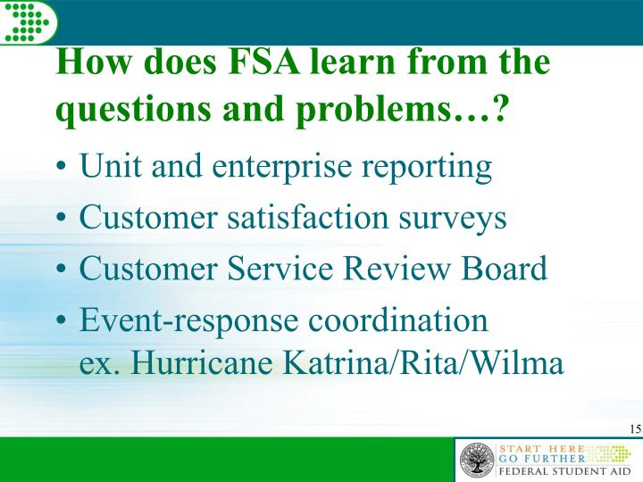 How does FSA learn from the questions and problems…?