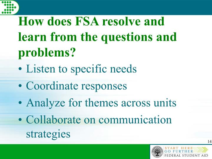 How does FSA resolve and learn from the questions and problems?