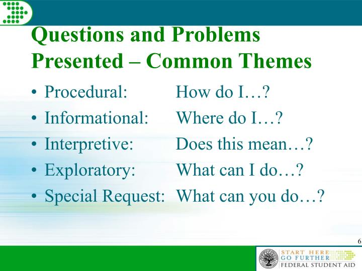 Questions and Problems Presented – Common Themes