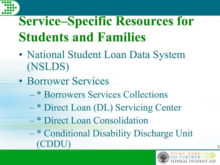 Service specific resources for students and families