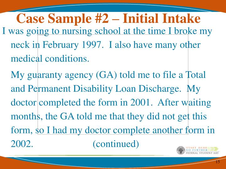 Case Sample #2 – Initial Intake