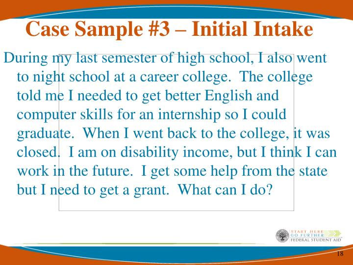 Case Sample #3 – Initial Intake