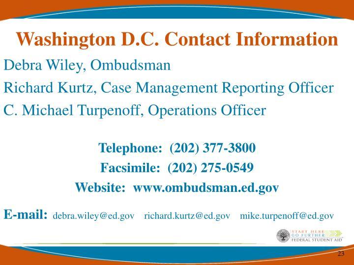 Washington D.C. Contact Information
