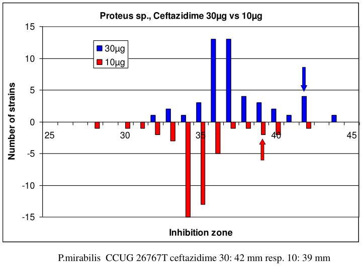P.mirabilis  CCUG 26767T ceftazidime 30: 42 mm resp. 10: 39 mm