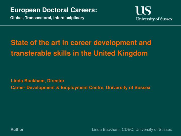 European doctoral careers global transsectoral interdisciplinary