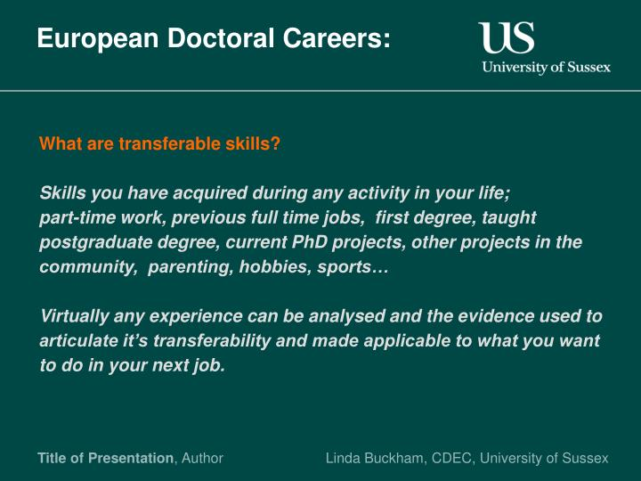 European Doctoral Careers: