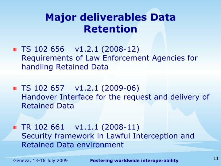 Major deliverables Data Retention