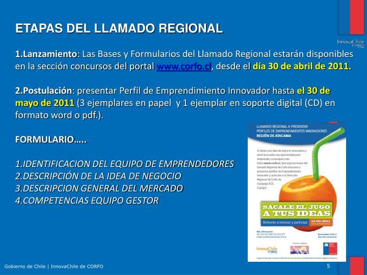 ETAPAS DEL LLAMADO REGIONAL