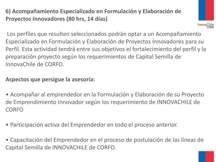 6) Acompañamiento Especializado en Formulación y Elaboración de Proyectos Innovadores