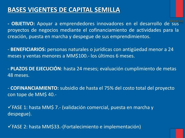 BASES VIGENTES DE CAPITAL SEMILLA