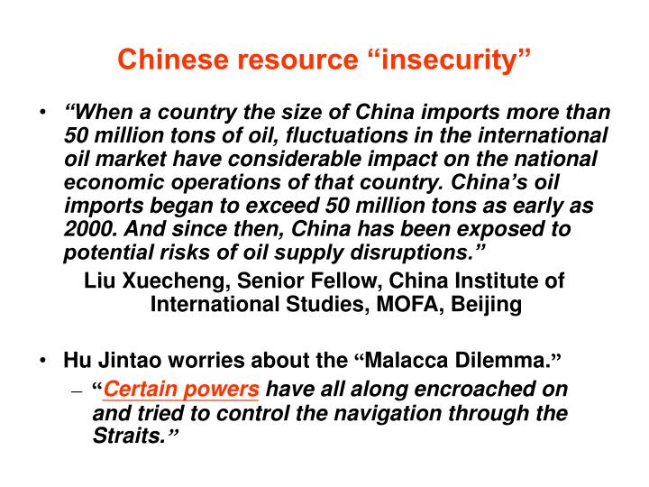 """Chinese resource """"insecurity"""""""