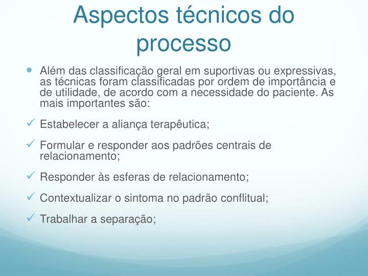 Aspectos técnicos do processo