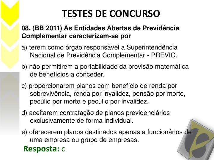 TESTES DE CONCURSO