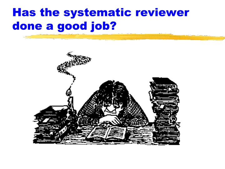 Has the systematic reviewer done a good job?