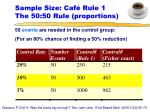 sample size caf rule 1 the 50 50 rule proportions