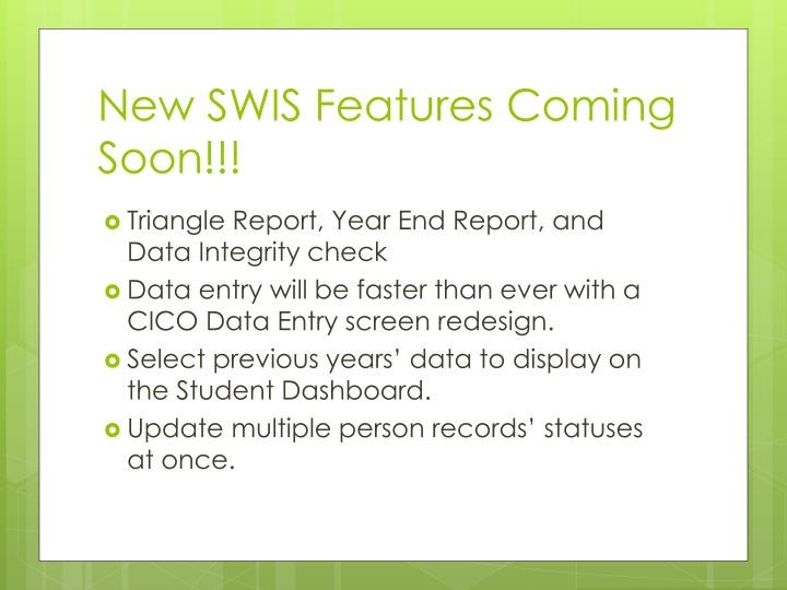 New SWIS Features Coming Soon!!!