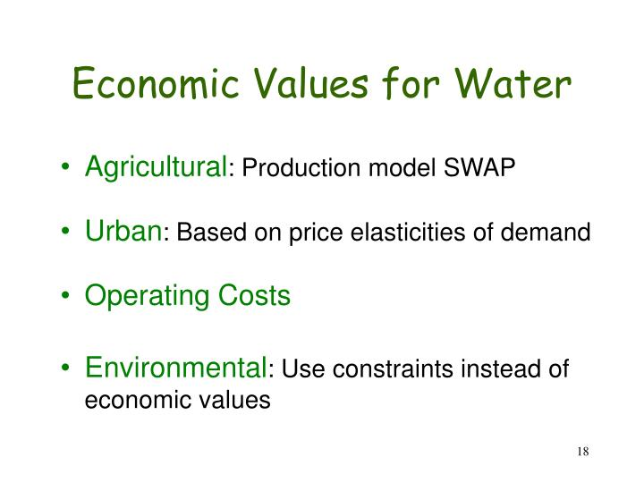 Economic Values for Water