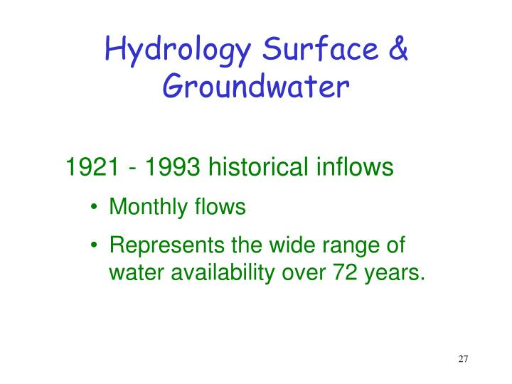Hydrology Surface & Groundwater