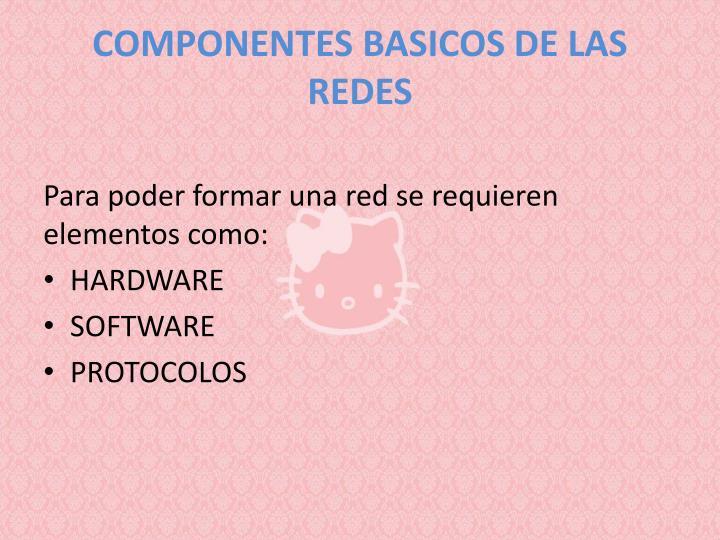 COMPONENTES BASICOS DE LAS REDES
