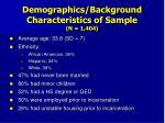 demographics background characteristics of sample n 1 404