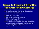 return to prison in 12 months following fotep discharge
