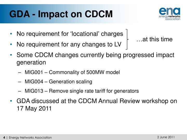 GDA - Impact on CDCM