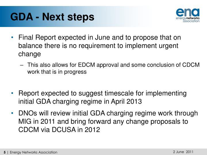 GDA - Next steps