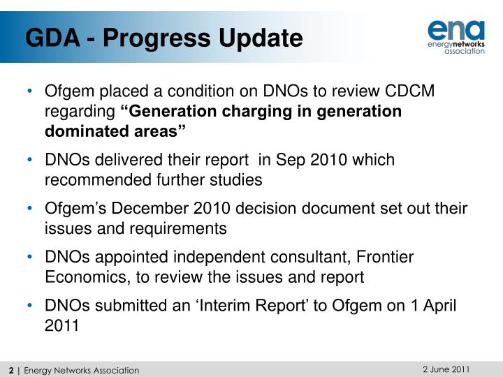 GDA - Progress Update
