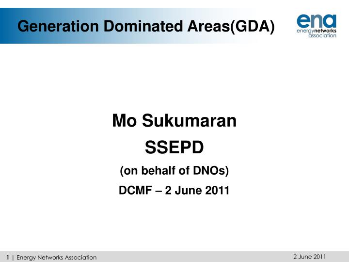 Generation dominated areas gda
