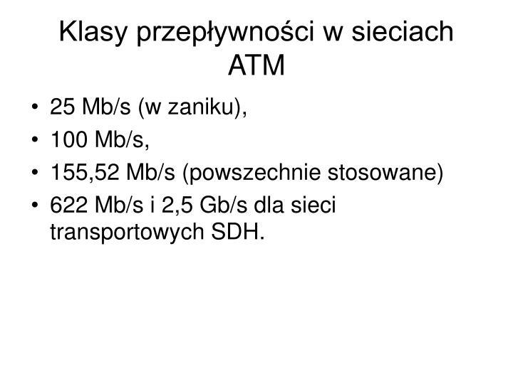 Klasy przepływności w sieciach ATM
