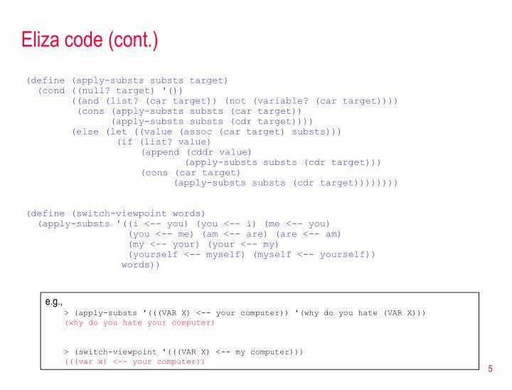 Eliza code (cont.)