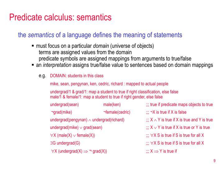 Predicate calculus: semantics