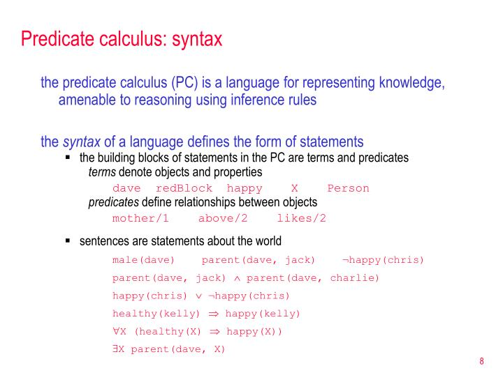 Predicate calculus: syntax