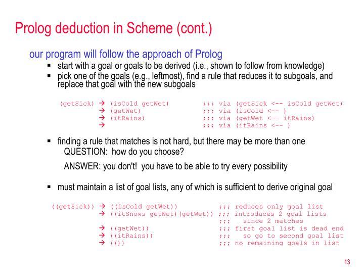 Prolog deduction in Scheme (cont.)