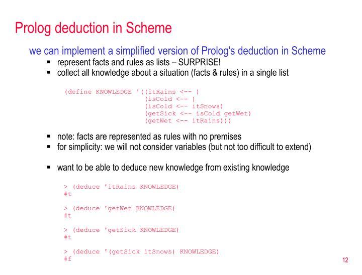 Prolog deduction in Scheme