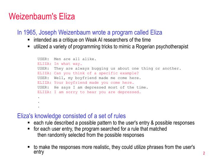 Weizenbaum's Eliza
