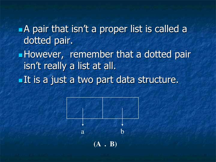 A pair that isn't a proper list is called a dotted pair.