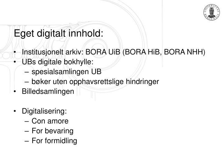 Eget digitalt innhold: