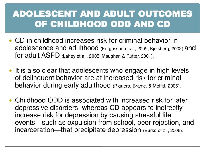 Adolescent and Adult Outcomes of Childhood ODD and CD