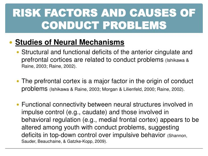 RISK FACTORS AND CAUSES OF CONDUCT PROBLEMS