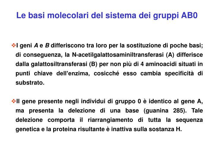 Le basi molecolari del sistema dei gruppi AB0