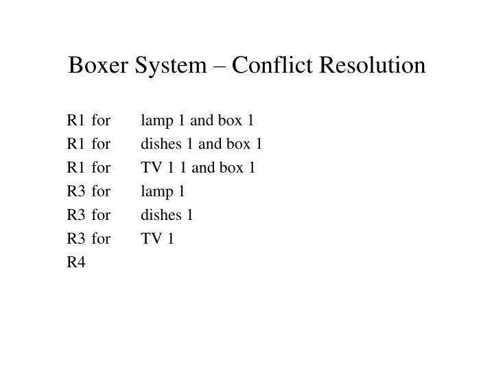 Boxer System – Conflict Resolution