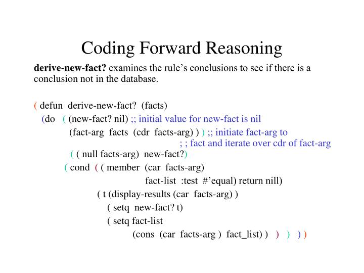 Coding Forward Reasoning